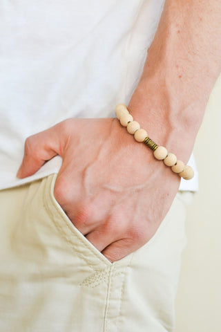 Men's bracelet with bronze tube charm and wood bead - shani-adi-jewerly