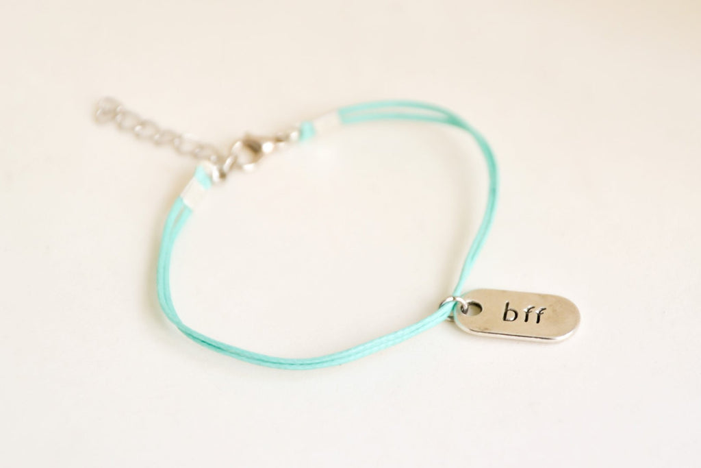 bff bracelet, turquoise cord bracelet with silver tone plaque with bbf engraved, friendship bracelet, best friends forever, minimalist