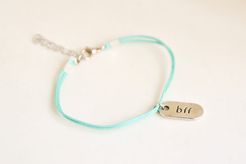 Silver BFF charm bracelet, turquoise cord, teal friendship bracelet - shani-adi-jewerly