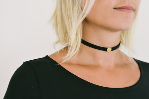 Black strap choker necklace with a gold round bead, gift for her - shani-adi-jewerly