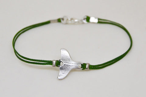 Whale tail bracelet, cord bracelet with a silver plated tail charm, nautical jewelry, green strings. minimalist jewelry, sailor, sea, beach