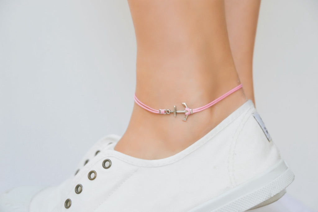 Pink dainty anklet with a silver anchor charm - shani-adi-jewerly