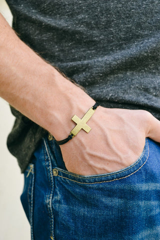 Bronze cross bracelet for men, black cord