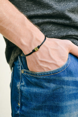 Vegetarian V bracelet for men, black cord - shani-adi-jewerly
