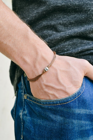 Initial bracelet for men, brown cord - shani-adi-jewerly
