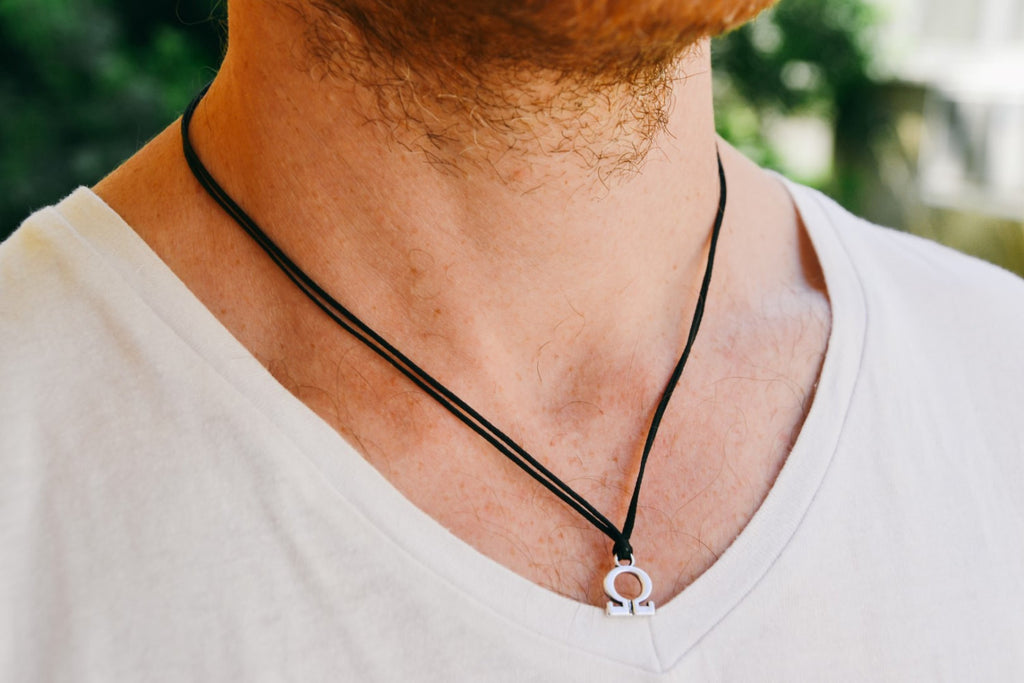 Omega necklace for men, black cord - shani-adi-jewerly