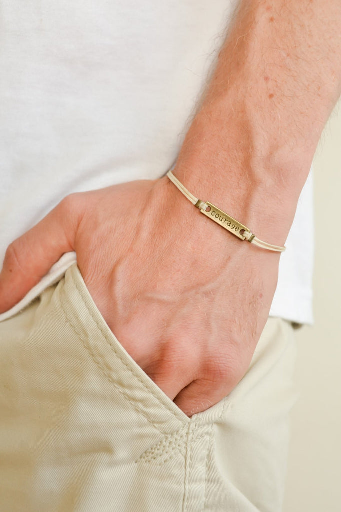 Courage bracelet for men, beige cord - shani-adi-jewerly