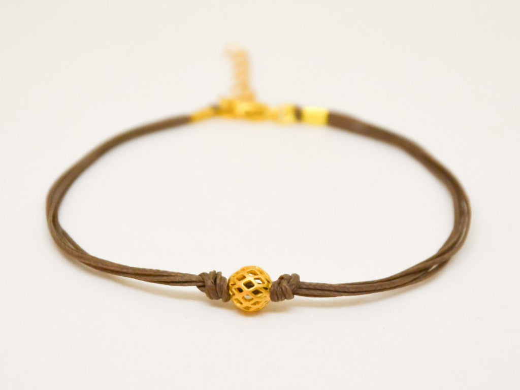Gold ball bracelet, brown cord bracelet with gold bead, gift for girlfriend, minimalist jewelry, friendship, women bracelets, brown, 14k