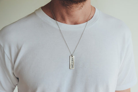 Men's necklace with a silver plaque Hebrew sentence God Bless You, stainless steel chain - shani-adi-jewerly