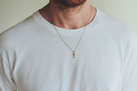 Fish bones chain necklace for men, men's fish bones necklace with link chain, silver charm. gift for him, fisherman gift necklace, for men