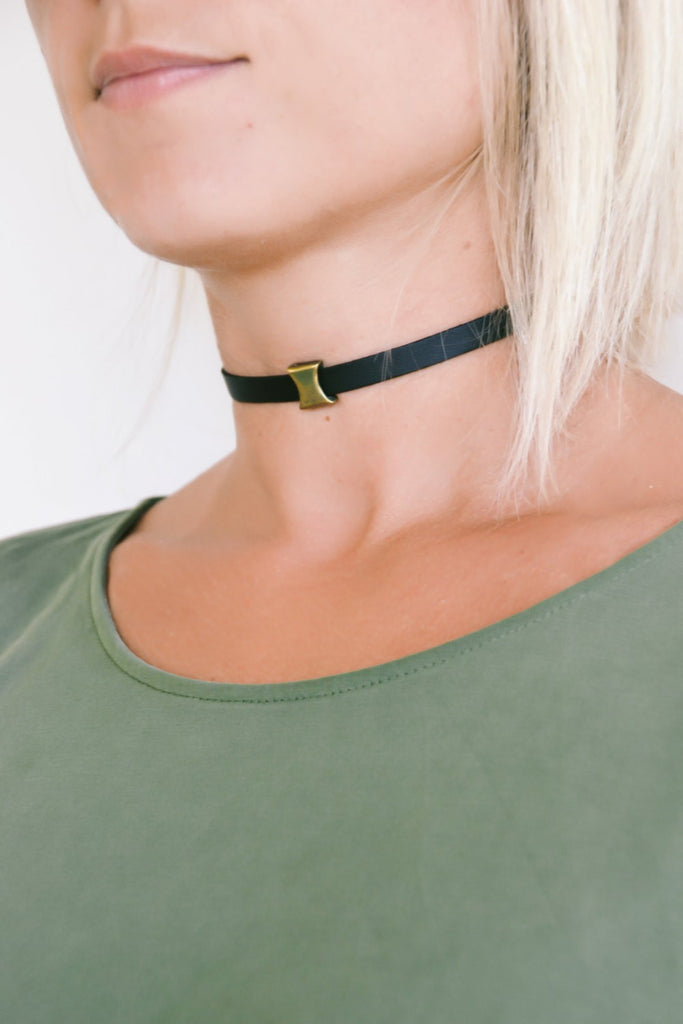 Choker necklace with a bronze bead charm - shani-adi-jewerly