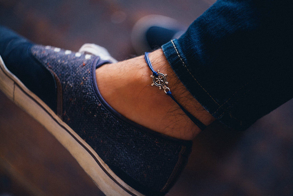 Ship wheel anklet for men, men's anklet with a silver boat helm, blue, anklet for men, gift for him, men's ankle bracelet, nautical jewelry