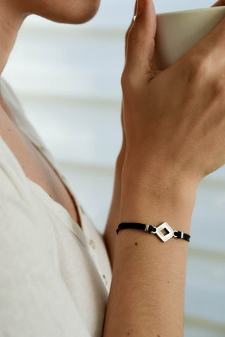Rhombus bracelet, black cord - shani-adi-jewerly