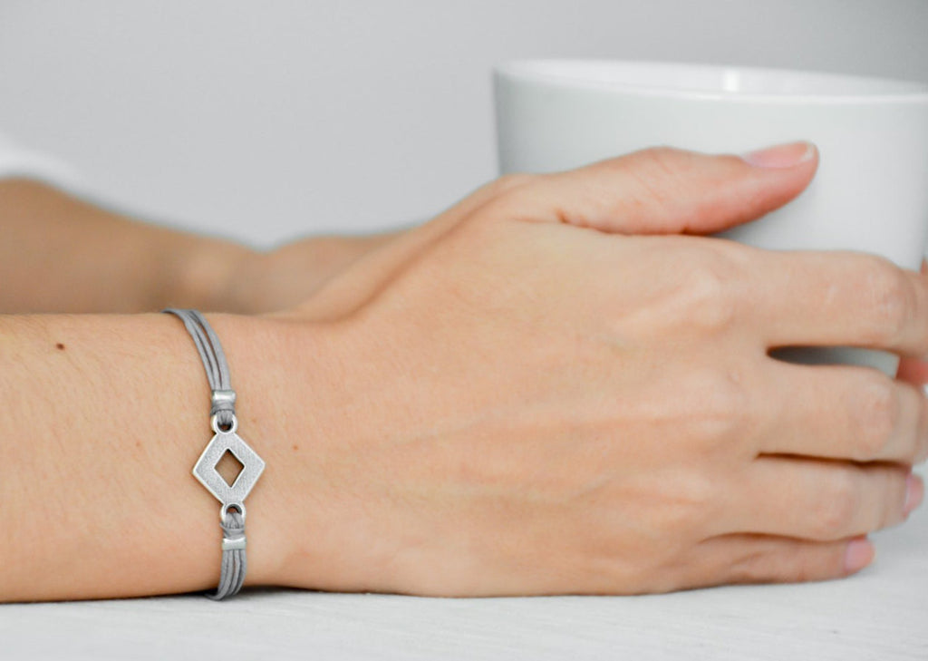 Rhombus bracelet, women bracelet with silver rhombus charm, gray bracelet, minimalist geometric jewelry, grey cord, birthday gift for her