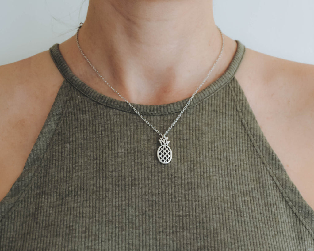 Silver pineapple pendant, stainless steel chain necklace for her - shani-adi-jewerly