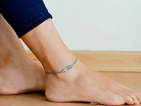 Gray cord anklet with silver Pineapple charm - shani-adi-jewerly