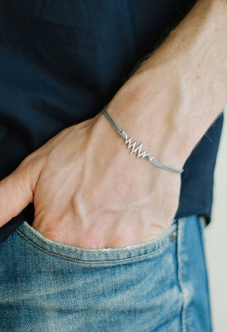 Silver heartbeat bracelet for men, gray cord, Valentine's day gift for him - shani-adi-jewerly