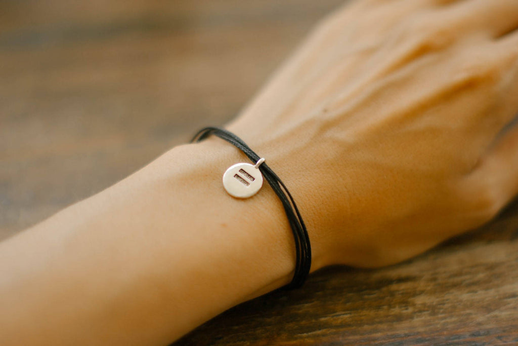 Equality bracelet, Equal Rights bracelet, silver tone charm, black strings human rights Campaign HRC jewelry, minimalist jewelry, DOMA, gift