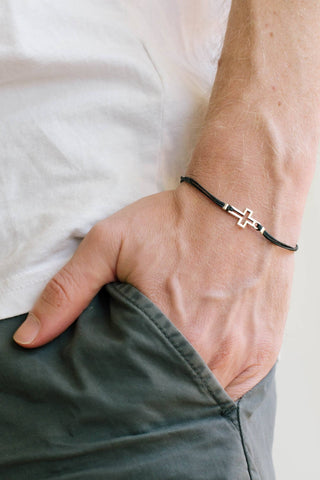 Cross bracelet for men, groomsmen gift, men's bracelet with silver cross pendant, outline, black, gift for him, christian catholic jewelry