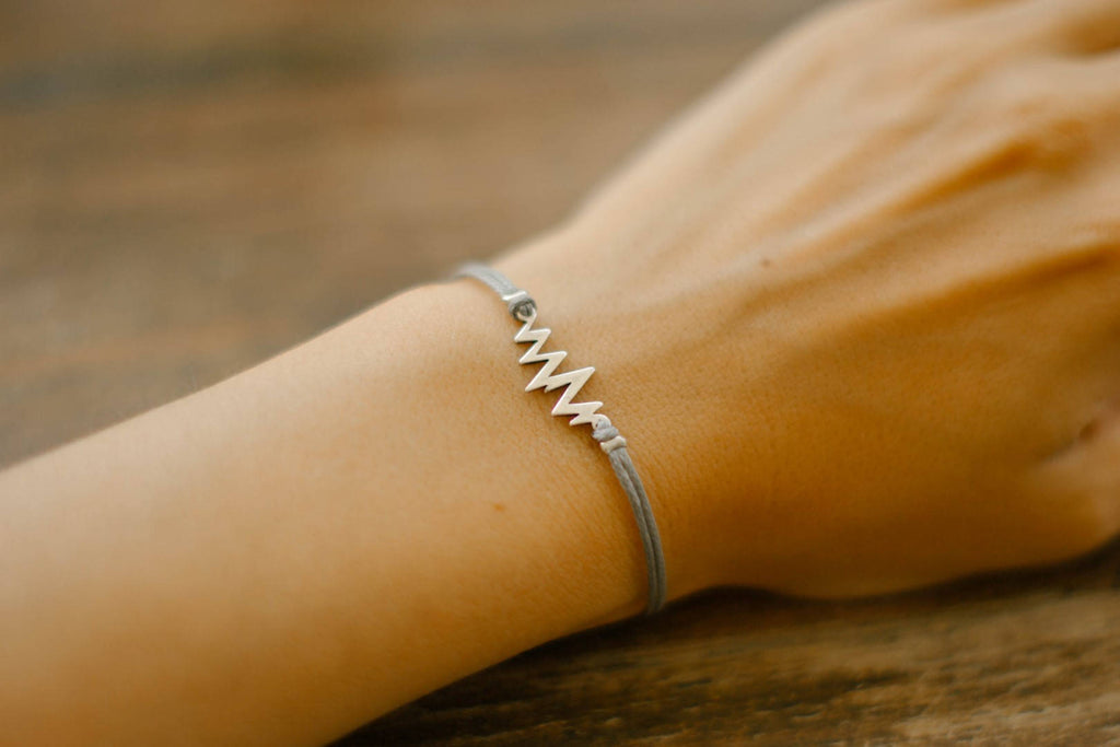 Silver Heartbeat women's bracelet, gray strings, adjustable, mothers day gift for her - shani-adi-jewerly