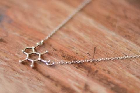 Caffeine necklace for men, Coffee Lover gift, men's necklace with a silver Caffeine Molecule pendant, silver chain, gift for him, Chemistry