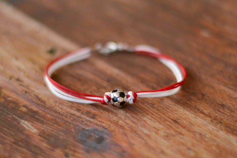 Soccer bracelet for men, sports team men's bracelet, soccer football ball, red and white, Manchester united, gift for him, bayern Munich