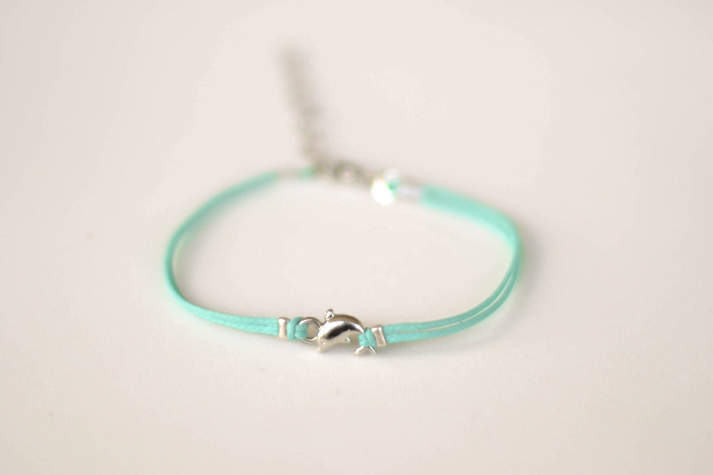 Dolphin Bracelet, turquoise cord bracelet with a silver dolphin charm, orca bracelet, teal sea life bracelet, minimalist jewelry, nautical