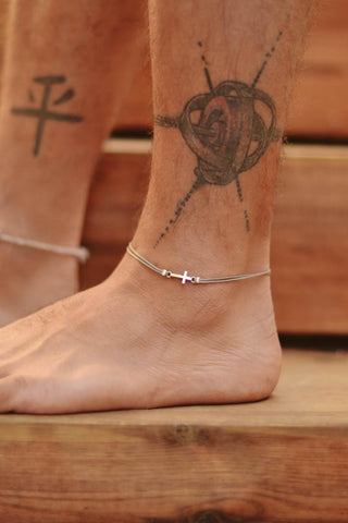 Silver cross anklet for men, gray cord, Valentine's day gift for him
