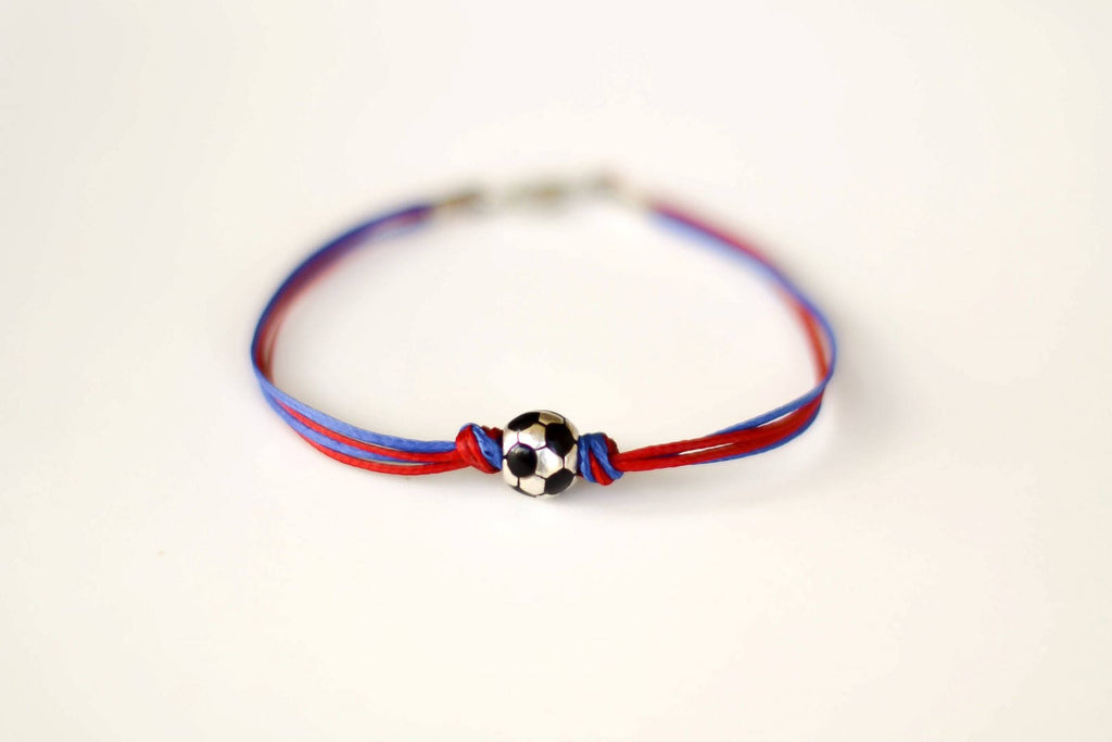 Red and blue soccer bracelet for men - shani-adi-jewerly