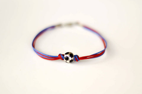 Soccer bracelet, sports team men's bracelet, soccer football ball bead, red and blue, Barcelona Barca, bracelet for men, gift for him, sport