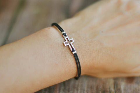 Women bracelet with silver outline cross charm, black cord - shani-adi-jewerly