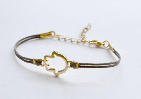 Brown cord bracelet with gold hamsa charm - shani-adi-jewerly