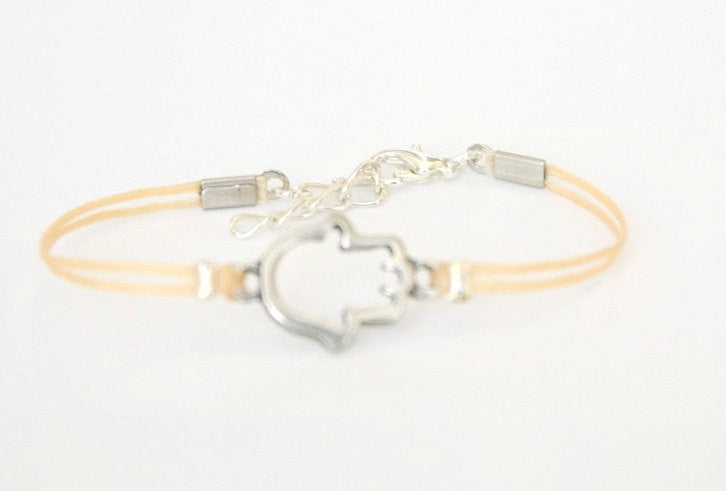 Silver Hamsa bracelet for women, beige cord, spiritual jewelry - shani-adi-jewerly