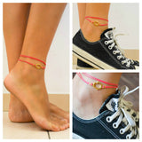 Pink wrap cord anklet with gold hamsa charm - shani-adi-jewerly
