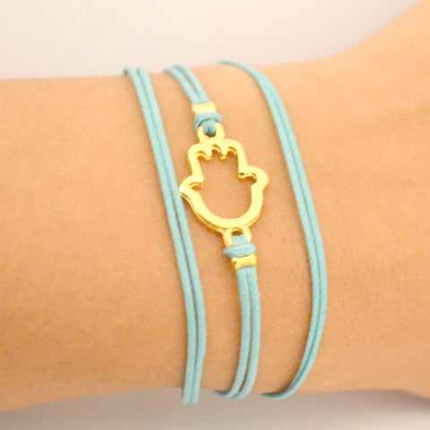 Turquoise cord wrap bracelet with gold hamsa charm - shani-adi-jewerly