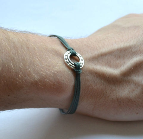 Karma bracelet for men, blue cord
