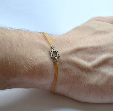 Silver Star of David men's bracelet