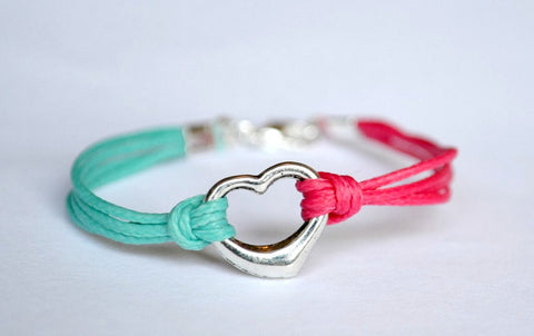 Heart friendship bracelet for children, pink and turquoise cord - shani-adi-jewerly