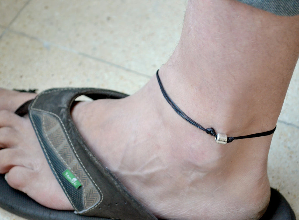 Silver tube anklet for men, black cord - shani-adi-jewerly