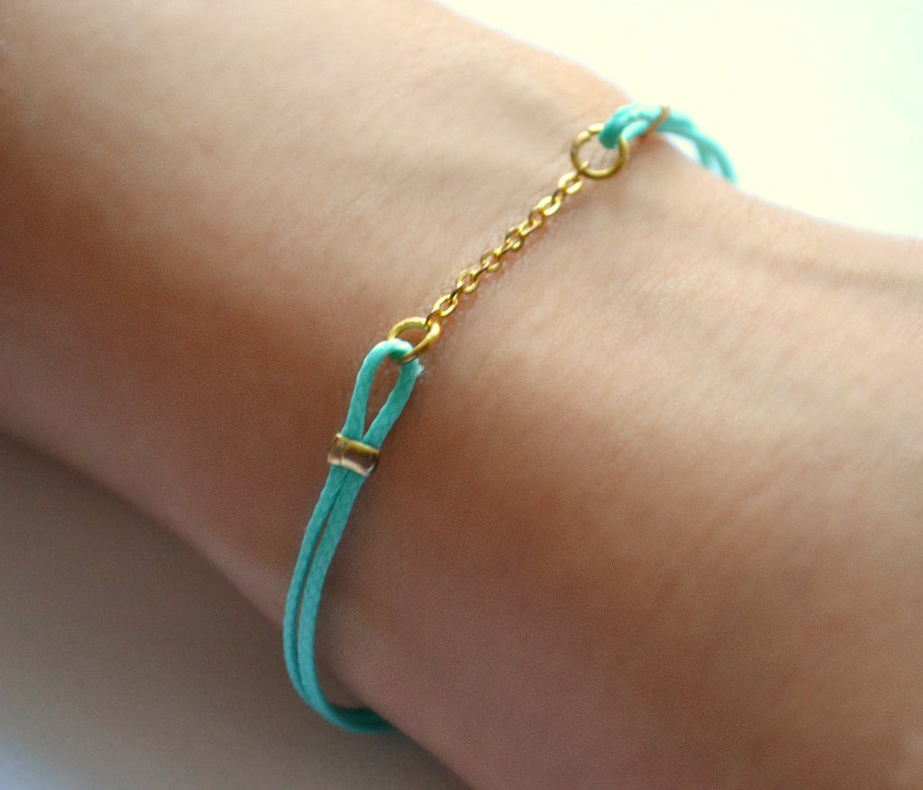 Turquoise cord Bracelet, valentine gift, cord bracelet with a gold chain, turquoise cord, minimalist jewelry, stack bracelet, teal bracelet