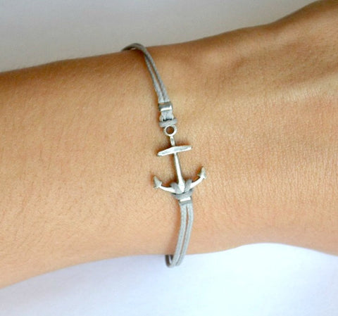 Cord bracelet with silver plated anchor charm, gray string - shani-adi-jewerly