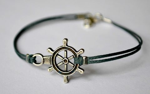 Men's bracelet with silver plated ship wheel, blue cord - shani-adi-jewerly