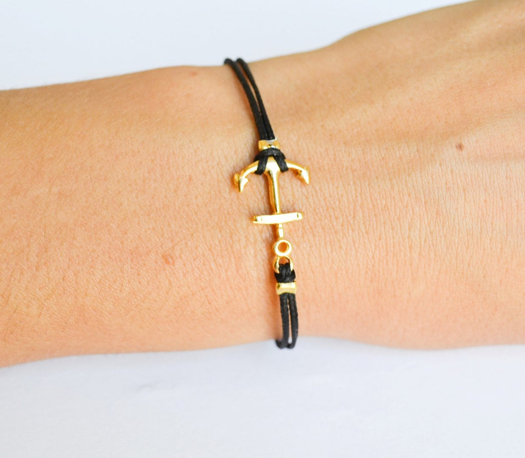 Anchor bracelet for women, black cord bracelet with gold plated anchor charm. dainty, minimalist nautical jewelry, valentine gift for her