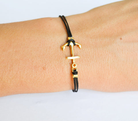 Black cord bracelet with gold plated anchor charm - shani-adi-jewerly