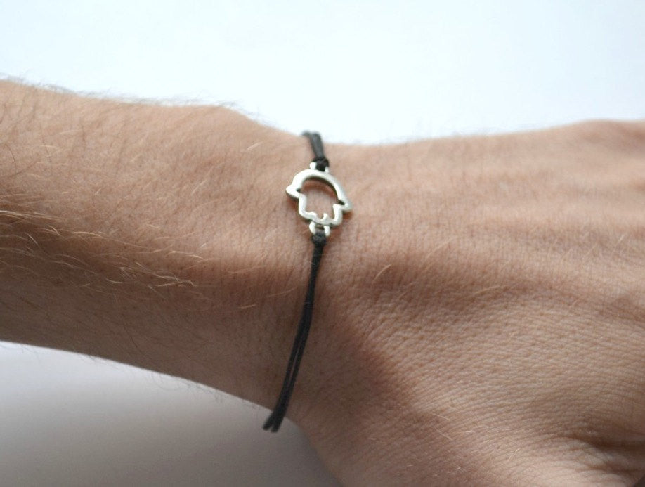 Hamsa bracelet for men, black cord