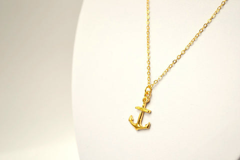 Anchor necklace, gift for girlfriend, delicate dainty gold necklace, gold anchor pendant, nautical everyday jewelry, for her, gold chain