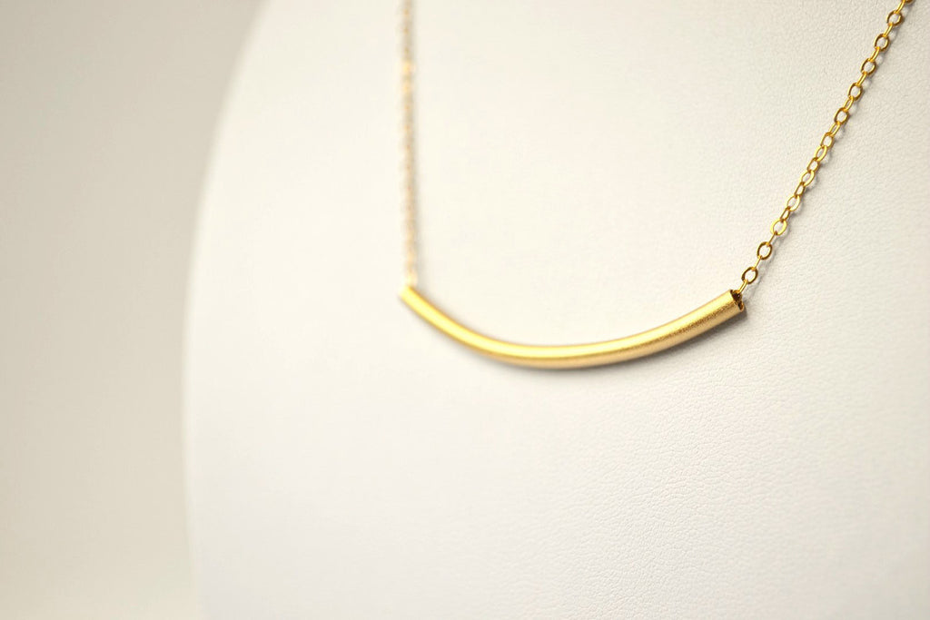 Gold bar necklace, gold matte curved tube necklace on 24k gold plated chain, tube pendant, gift for her, simple dainty necklace gift for her