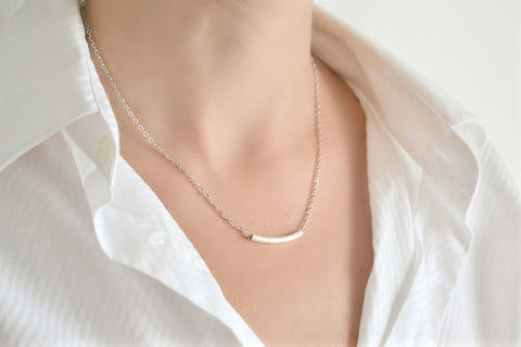 Silver bar necklace for women, stainless steel chain - shani-adi-jewerly