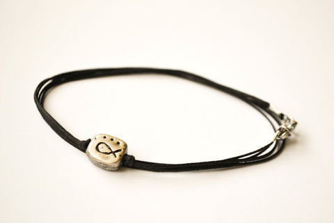 Black wrapped bracelet for men, silver Fish charm - shani-adi-jewerly
