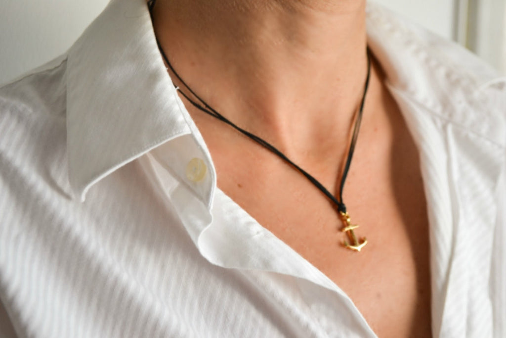 Gold anchor necklace with a black wax cord - shani-adi-jewerly